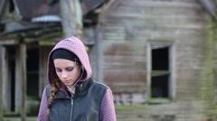 Attractive Pre-Teen Girl Looks Sad, Depressed - stock footage