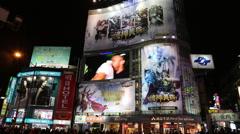 Ximen shopping area at night, Taipei, Taiwan Stock Footage