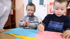 Stock Video Footage of children paint crayons