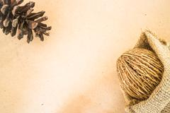 Dried plant ornament on wooden background - stock photo