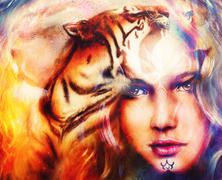 painting mighty tiger head on ornamental background and mystic woman face - stock illustration