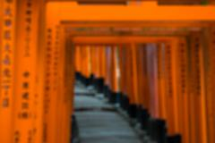 Torii tunnel passage way, blurred for background Stock Photos