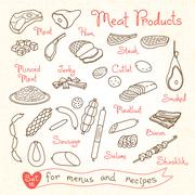 Set drawings of meat products for design menus, recipes and packages product - stock illustration