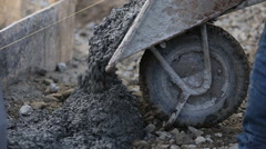 Worker pouring concrete from truck Stock Footage