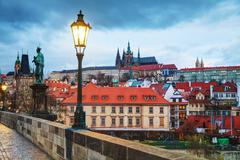 Overview of old Prague, Czech Republic - stock photo