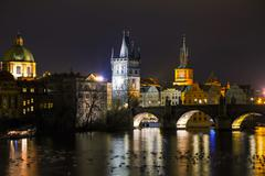 Overview of Prague in night Stock Photos