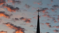 Church Steeple in Glorious Sunset Stock Footage