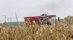 Agriculture tractor and harvester Stock Footage