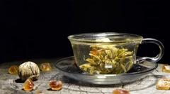 timelapse of brew tea - stock footage