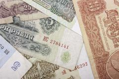 banknotes obsolete rubles currency of the Soviet Union - stock photo