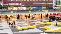 Time Lapse Zoom - Sergel's Square Central Stockholm Sweden Stock Footage