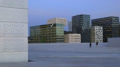 City with contemporary high density architecture, urban Oslo Stock Footage