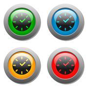 Clock icon on square button - stock illustration