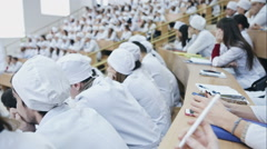 Medical students in large lecture halls Stock Footage