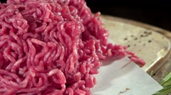 Stock Video Footage of Minced beef Meat (not loopable, 4K)