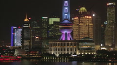 Skyline Shanghai Pudong From The Bund at night. China - stock footage