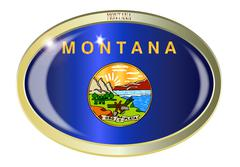 Montana State Flag Oval Button - stock illustration
