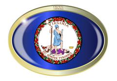 Virginia State Flag Oval Button - stock illustration