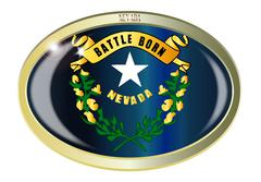 Stock Illustration of Nevada State Flag Oval Button
