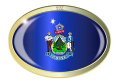 Stock Illustration of Maine State Flag Oval Button