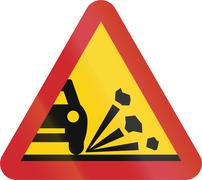 Road sign used in Sweden - Loose chippings Stock Illustration