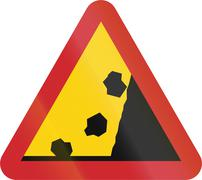 Road sign used in Sweden - Falling rocks from corresponding side - stock illustration