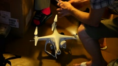 Service Aerial drone,  Quadcopter market Stock Footage