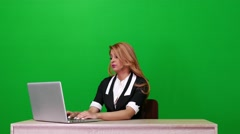 Business Woman Fed Up at Work on Green Screen Stock Footage