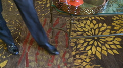 Rug Man Shoes Stock Footage
