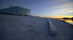 Oslo Opera House, Operahuset, dusk wide, glacier architecture Stock Footage