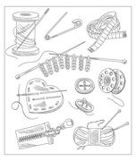 Sewing Accessories. Vector Illustration - stock illustration