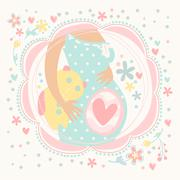 Pregnant woman with baby inside, happy child. Postcard hand-drawn - stock illustration
