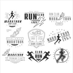 Stock Illustration of Running club labels, emblems and design elements vector