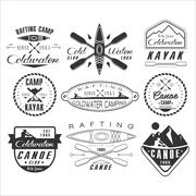 Kayak and canoe emblems, badges, design elements - stock illustration