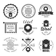 Wool labels and elements. Stickers, emblems natural wool products Stock Illustration