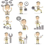 Set of Businessman Characters - stock illustration