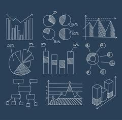 Graphs, Charts and Diagrams. Hand Drawn Business Icons Set - stock illustration