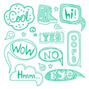 Speech Bubble Collection. Black and White Vector Set - stock illustration