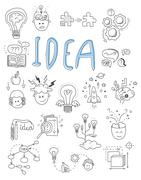 Idea, brainstorming icons in Doodle style vector illustration - stock illustration