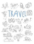 Travel, camping icons in Doodle style great set - stock illustration