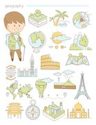 Geography and travel, teacher geographer Doodle style icons big set vector - stock illustration