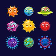 Fantastic planets with faces and emotions, computer games - stock illustration
