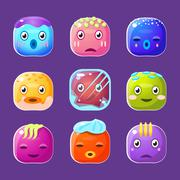 Funny Colorful Square Faces Set, Emotional Cartoon Vector Avatars - stock illustration