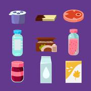Common Goods and Everyday Products in Flat Style - stock illustration