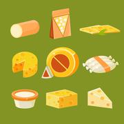 Different Types of Cheese, Flat Vector Illustration Set - stock illustration