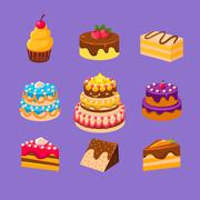 Cakes and Desserts Set Stock Illustration