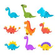 Small Colourful Dinosaur Set. Cute Vector Collection Stock Illustration