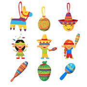 Stock Illustration of Colourful Indian Set. Childish Vector Illustration Collection