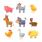 Farm Animal Collection. Vector Illustration Set Piirros