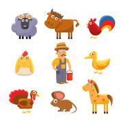 Farm Animal Collection. Colourful Vector Illustration Set Stock Illustration